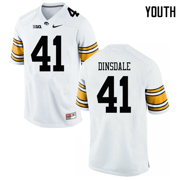Youth #41 Colton Dinsdale Iowa Hawkeyes College Football Jerseys Sale-White