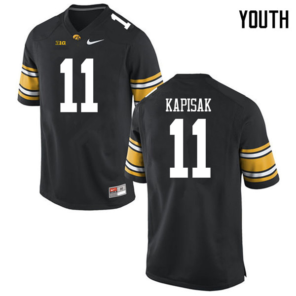Youth #11 Connor Kapisak Iowa Hawkeyes College Football Jerseys Sale-Black