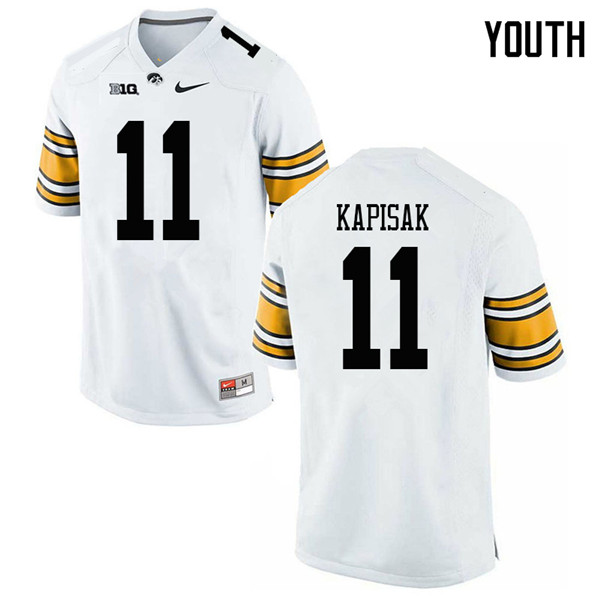 Youth #11 Connor Kapisak Iowa Hawkeyes College Football Jerseys Sale-White