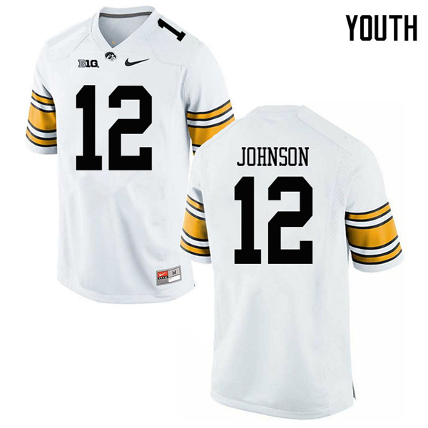 Youth #12 D.J. Johnson Iowa Hawkeyes College Football Jerseys Sale-White