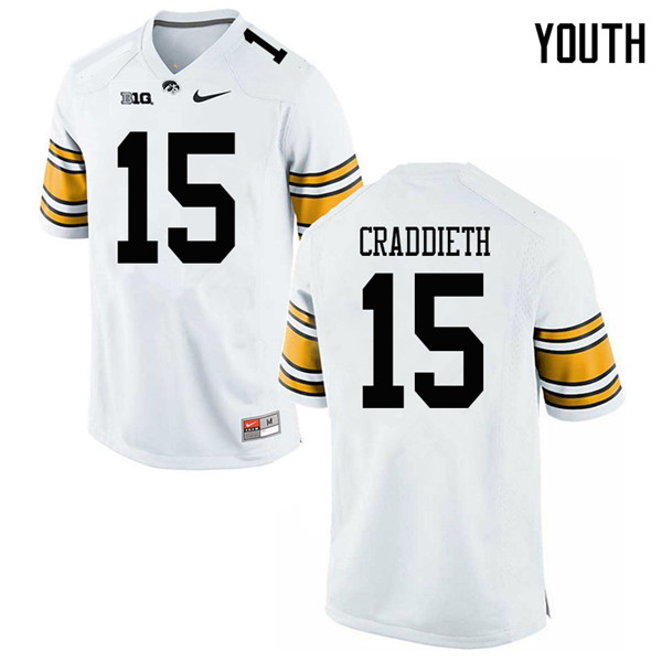 Youth #15 Dallas Craddieth Iowa Hawkeyes College Football Jerseys Sale-White