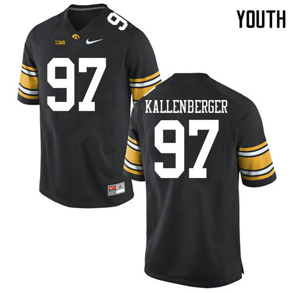 Youth #97 Jack Kallenberger Iowa Hawkeyes College Football Jerseys Sale-Black