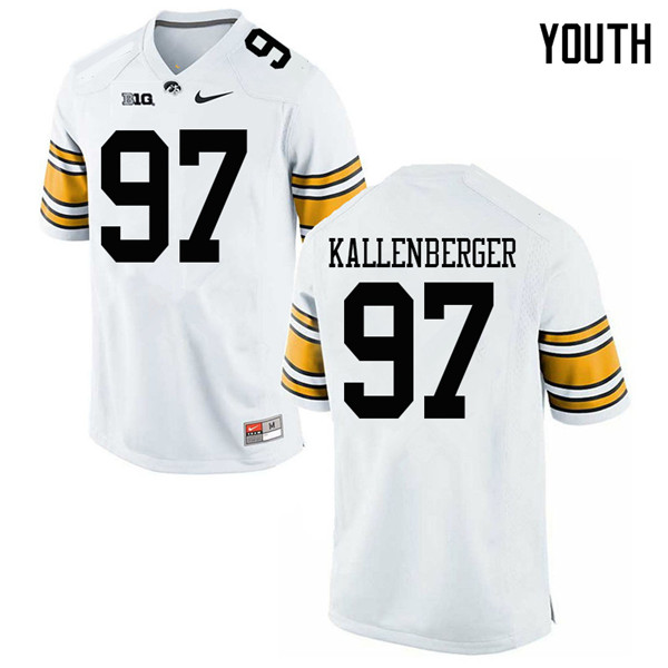 Youth #97 Jack Kallenberger Iowa Hawkeyes College Football Jerseys Sale-White