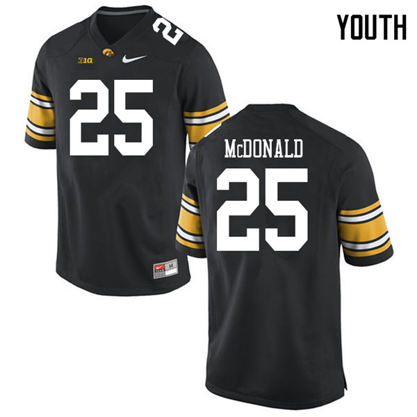 Youth #25 Jayden McDonald Iowa Hawkeyes College Football Jerseys Sale-Black