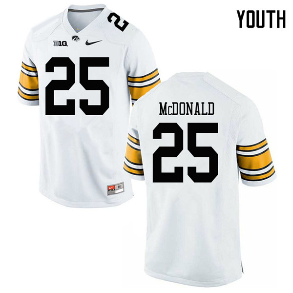 Youth #25 Jayden McDonald Iowa Hawkeyes College Football Jerseys Sale-White
