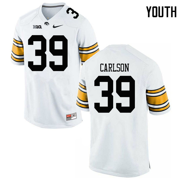 Youth #39 John Carlson Iowa Hawkeyes College Football Jerseys Sale-White