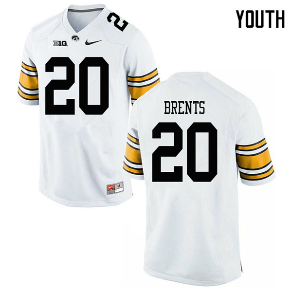 Youth #20 Julius Brents Iowa Hawkeyes College Football Jerseys Sale-White
