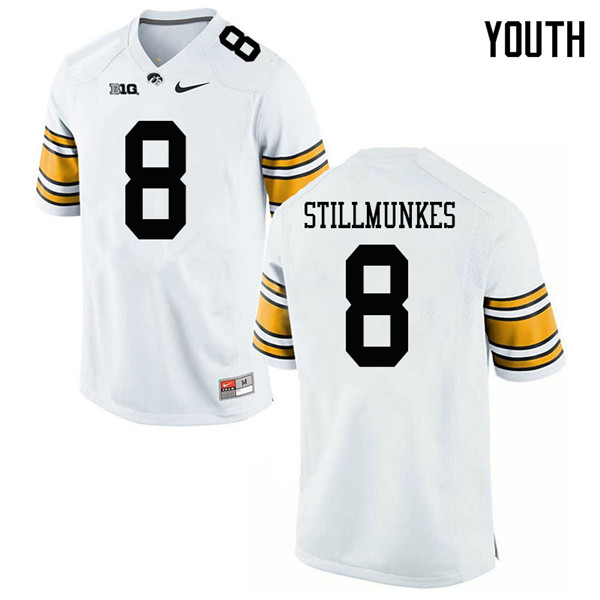 Youth #8 Kordell Stillmunkes Iowa Hawkeyes College Football Jerseys Sale-White