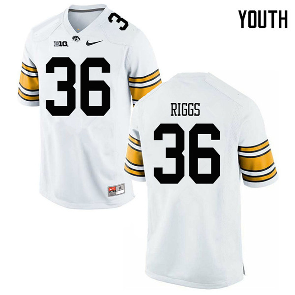 Youth #36 Mitch Riggs Iowa Hawkeyes College Football Jerseys Sale-White