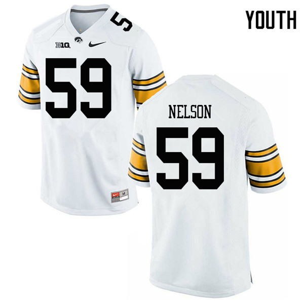 Youth #59 Nathan Nelson Iowa Hawkeyes College Football Jerseys Sale-White