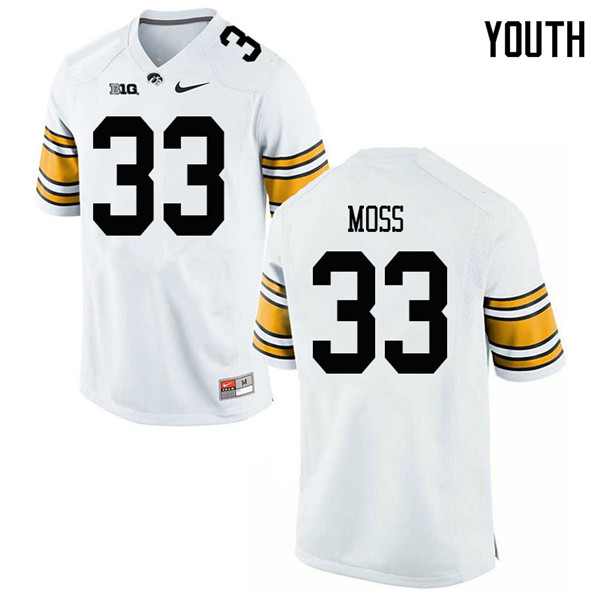 Youth #33 Riley Moss Iowa Hawkeyes College Football Jerseys Sale-White
