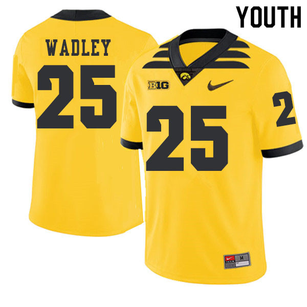 2019 Youth #25 Akrum Wadley Iowa Hawkeyes College Football Alternate Jerseys Sale-Gold