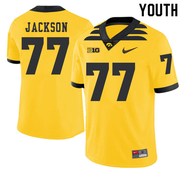 2019 Youth #77 Alaric Jackson Iowa Hawkeyes College Football Alternate Jerseys Sale-Gold