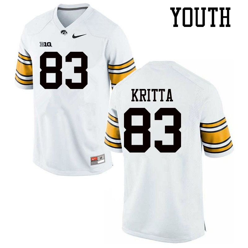 Youth #83 Alec Kritta Iowa Hawkeyes College Football Jerseys Sale-White