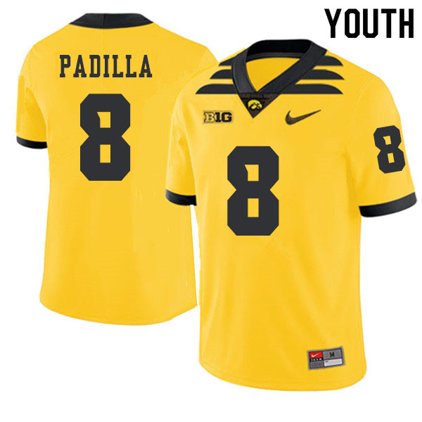 2019 Youth #8 Alex Padilla Iowa Hawkeyes College Football Alternate Jerseys Sale-Gold