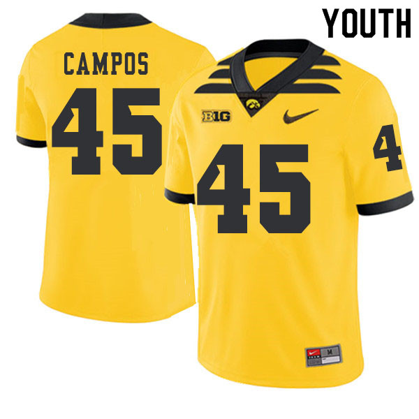 2019 Youth #45 Ben Campos Iowa Hawkeyes College Football Alternate Jerseys Sale-Gold