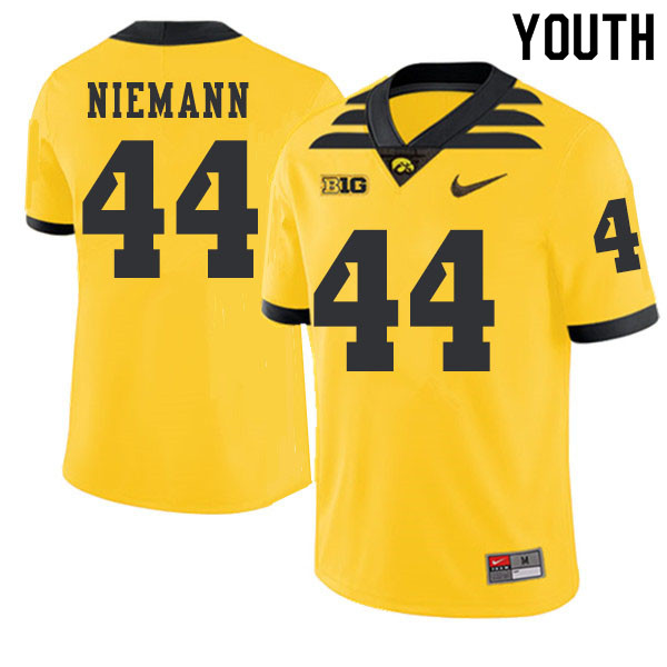 2019 Youth #44 Ben Niemann Iowa Hawkeyes College Football Alternate Jerseys Sale-Gold