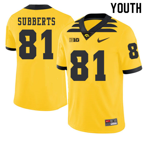 2019 Youth #81 Ben Subberts Iowa Hawkeyes College Football Alternate Jerseys Sale-Gold