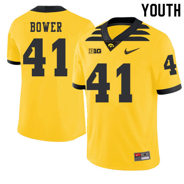 2019 Youth #41 Bo Bower Iowa Hawkeyes College Football Alternate Jerseys Sale-Gold