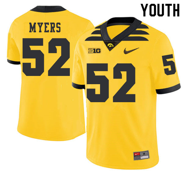 2019 Youth #52 Boone Myers Iowa Hawkeyes College Football Alternate Jerseys Sale-Gold