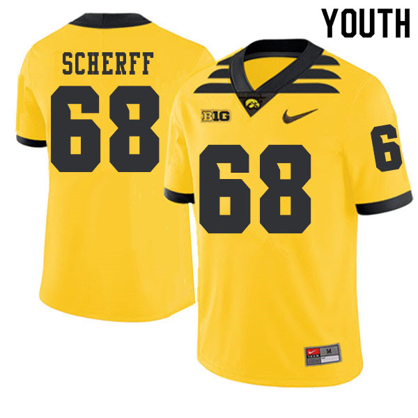 2019 Youth #68 Brandon Scherff Iowa Hawkeyes College Football Alternate Jerseys Sale-Gold