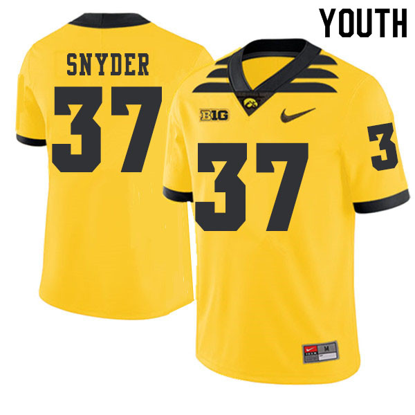 2019 Youth #37 Brandon Snyder Iowa Hawkeyes College Football Alternate Jerseys Sale-Gold