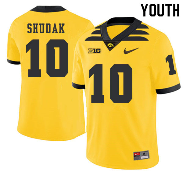 2019 Youth #10 Caleb Shudak Iowa Hawkeyes College Football Alternate Jerseys Sale-Gold