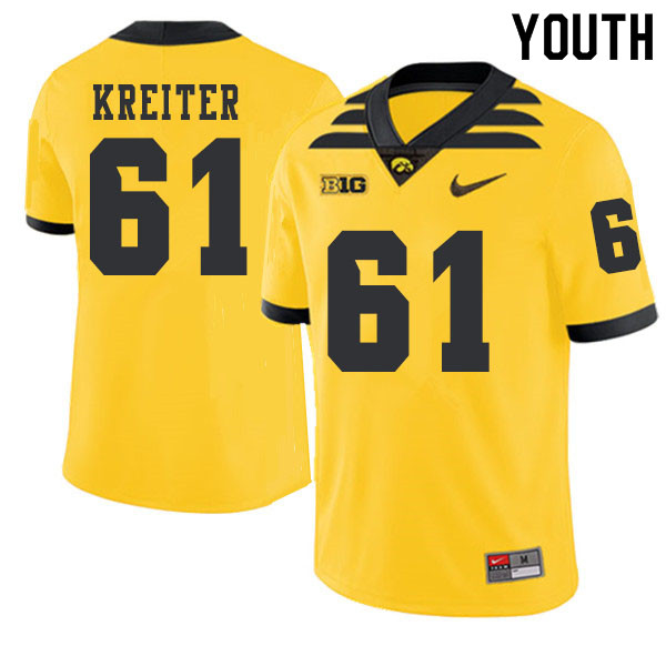 2019 Youth #61 Casey Kreiter Iowa Hawkeyes College Football Alternate Jerseys Sale-Gold