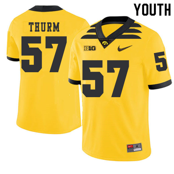 2019 Youth #57 Clayton Thurm Iowa Hawkeyes College Football Alternate Jerseys Sale-Gold