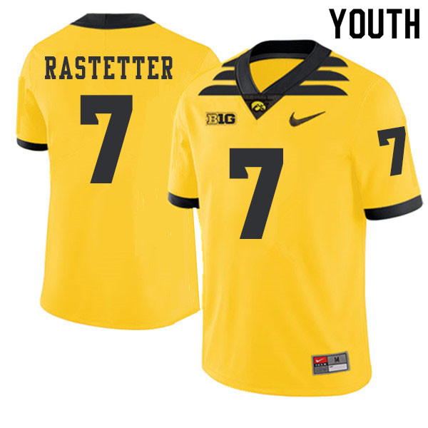 2019 Youth #7 Colten Rastetter Iowa Hawkeyes College Football Alternate Jerseys Sale-Gold