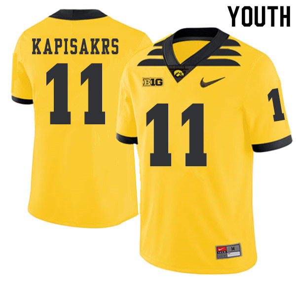 2019 Youth #11 Connor Kapisakrs Iowa Hawkeyes College Football Alternate Jerseys Sale-Gold
