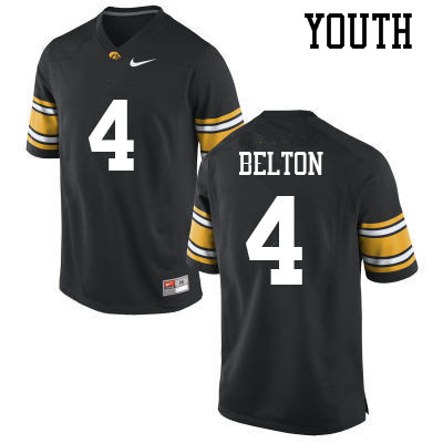 Youth #4 Dane Belton Iowa Hawkeyes College Football Jerseys Sale-Black