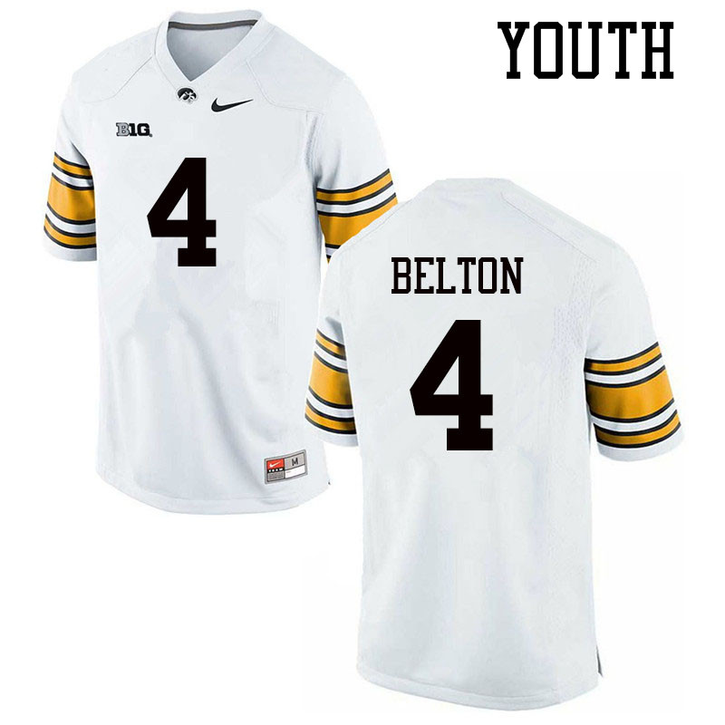 Youth #4 Dane Belton Iowa Hawkeyes College Football Jerseys Sale-White