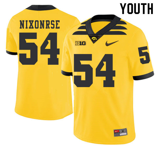 2019 Youth #54 Daviyon Nixonrse Iowa Hawkeyes College Football Alternate Jerseys Sale-Gold