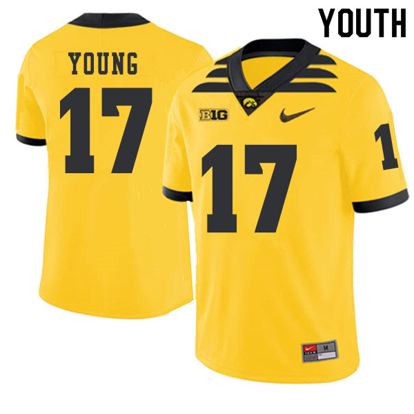 2019 Youth #17 Devonte Young Iowa Hawkeyes College Football Alternate Jerseys Sale-Gold