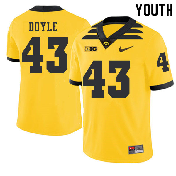 2019 Youth #43 Dillon Doyle Iowa Hawkeyes College Football Alternate Jerseys Sale-Gold
