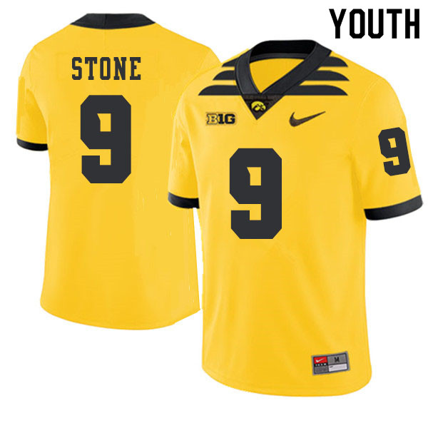 2019 Youth #9 Geno Stone Iowa Hawkeyes College Football Alternate Jerseys Sale-Gold