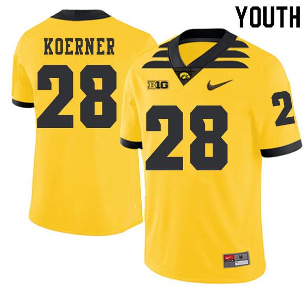 2019 Youth #28 Jack Koerner Iowa Hawkeyes College Football Alternate Jerseys Sale-Gold