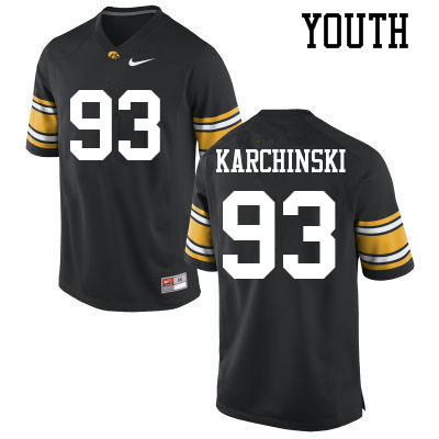 Youth #93 Jake Karchinski Iowa Hawkeyes College Football Jerseys Sale-Black