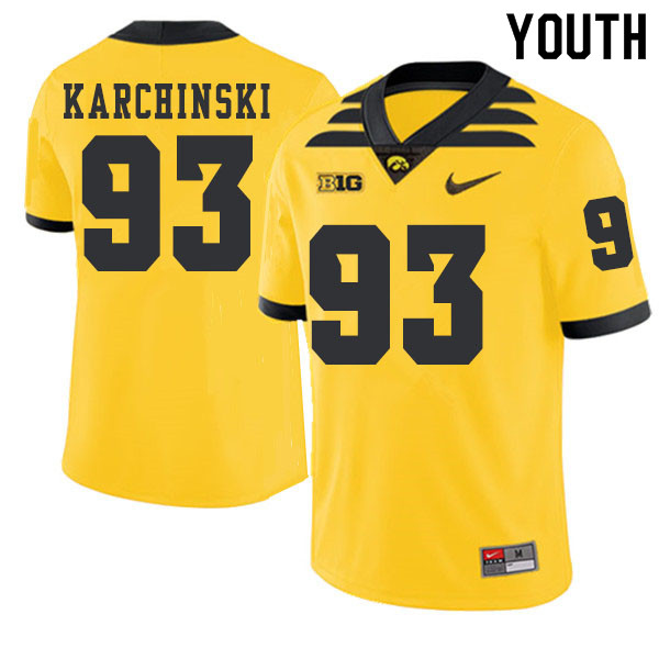 2019 Youth #93 Jake Karchinski Iowa Hawkeyes College Football Alternate Jerseys Sale-Gold