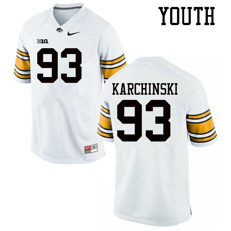 Youth #93 Jake Karchinski Iowa Hawkeyes College Football Jerseys Sale-White