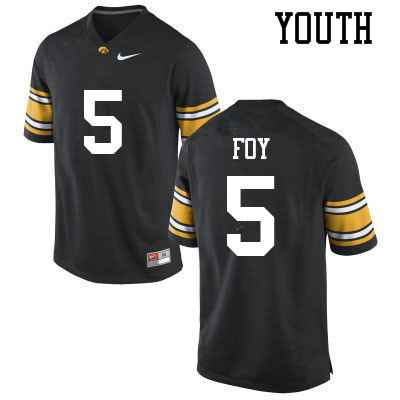 Youth #5 Javon Foy Iowa Hawkeyes College Football Jerseys Sale-Black