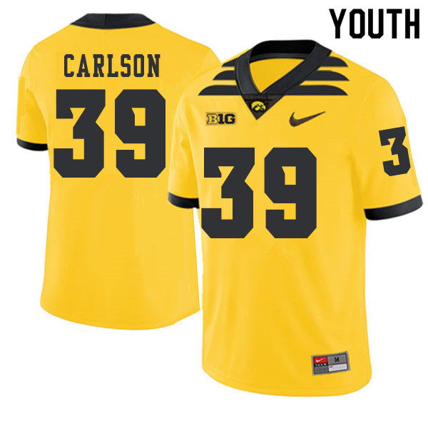 2019 Youth #39 John Carlson Iowa Hawkeyes College Football Alternate Jerseys Sale-Gold