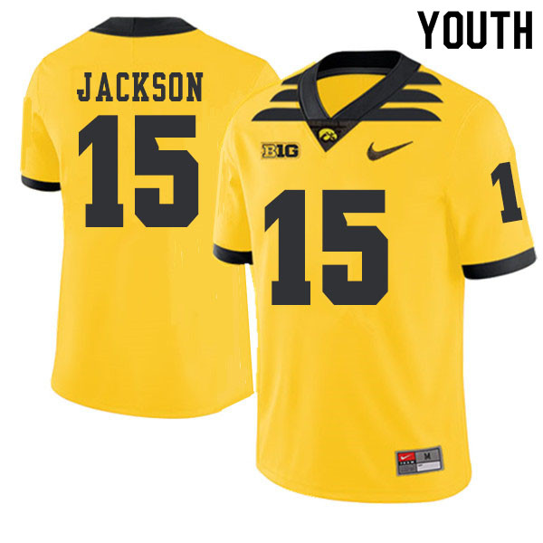 2019 Youth #15 Joshua Jackson Iowa Hawkeyes College Football Alternate Jerseys Sale-Gold