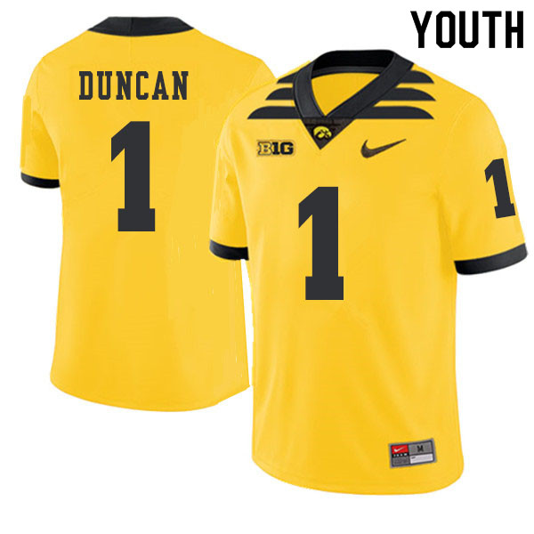 2019 Youth #1 Keith Duncan Iowa Hawkeyes College Football Alternate Jerseys Sale-Gold