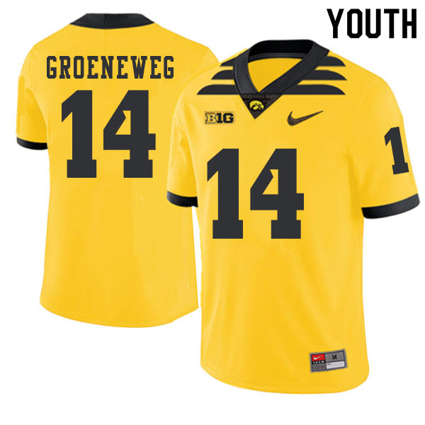 2019 Youth #14 Kyle Groeneweg Iowa Hawkeyes College Football Alternate Jerseys Sale-Gold