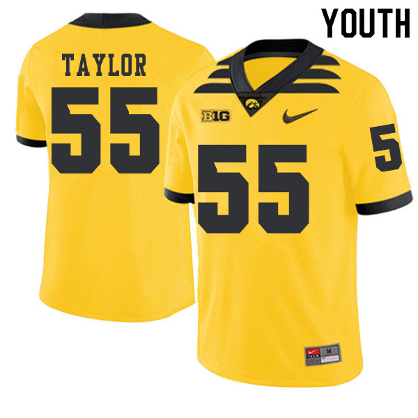 2019 Youth #55 Kyle Taylor Iowa Hawkeyes College Football Alternate Jerseys Sale-Gold