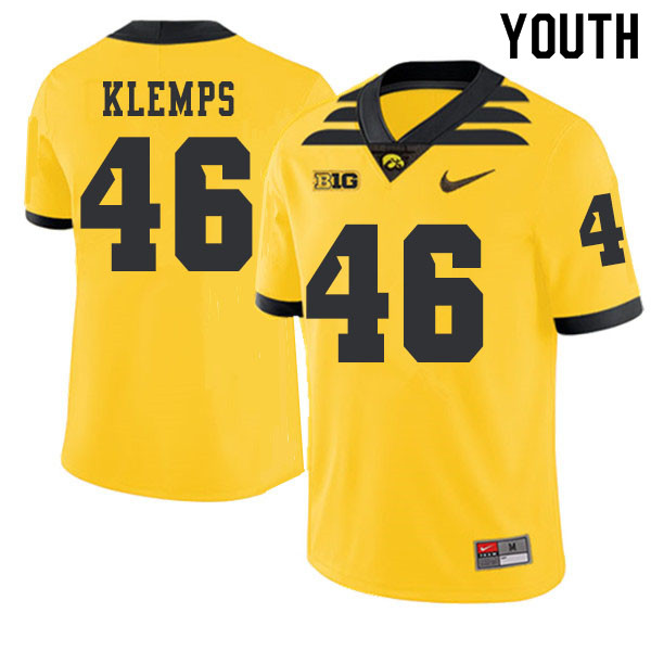 2019 Youth #46 Logan Klemps Iowa Hawkeyes College Football Alternate Jerseys Sale-Gold