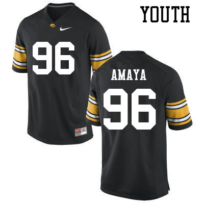 Youth #96 Lucas Amaya Iowa Hawkeyes College Football Jerseys Sale-Black