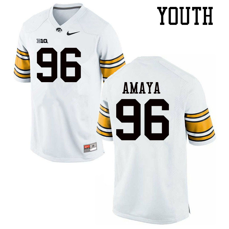 Youth #96 Lucas Amaya Iowa Hawkeyes College Football Jerseys Sale-White